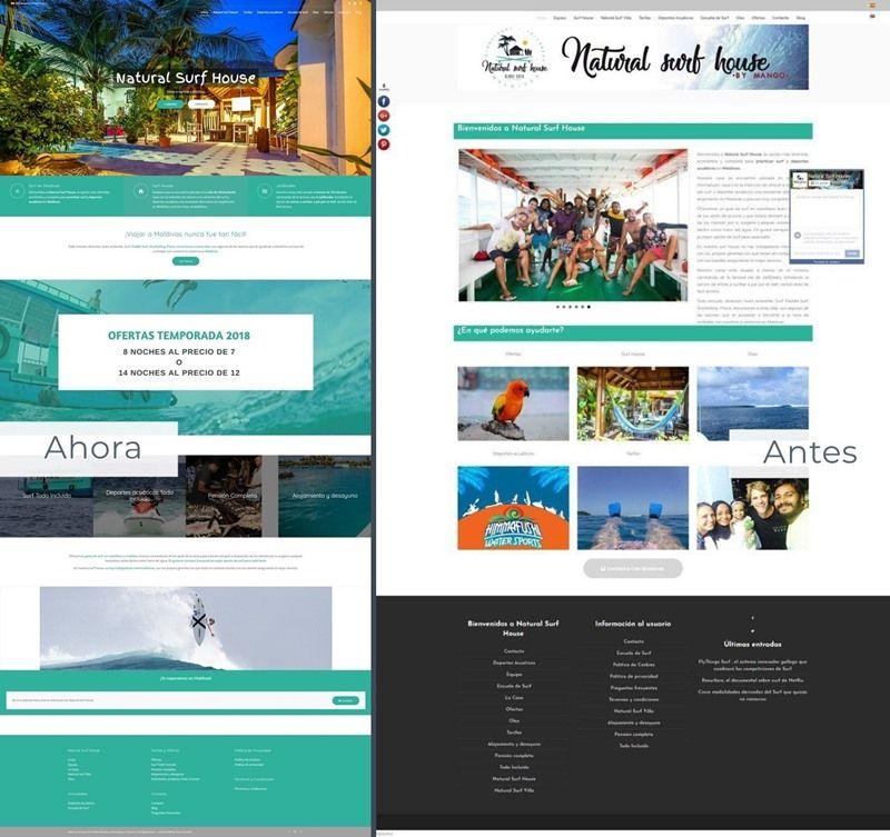 nueva web para natural surf house inicio antes ahora