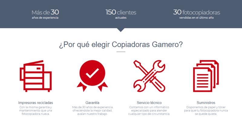 nueva Landing page Copiadoras Gamero 02
