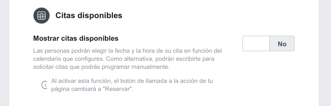 Quitar las citas disponibles de Facebook