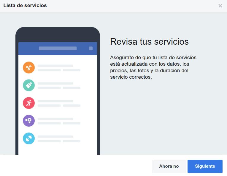 Reservar servicios en Facebook