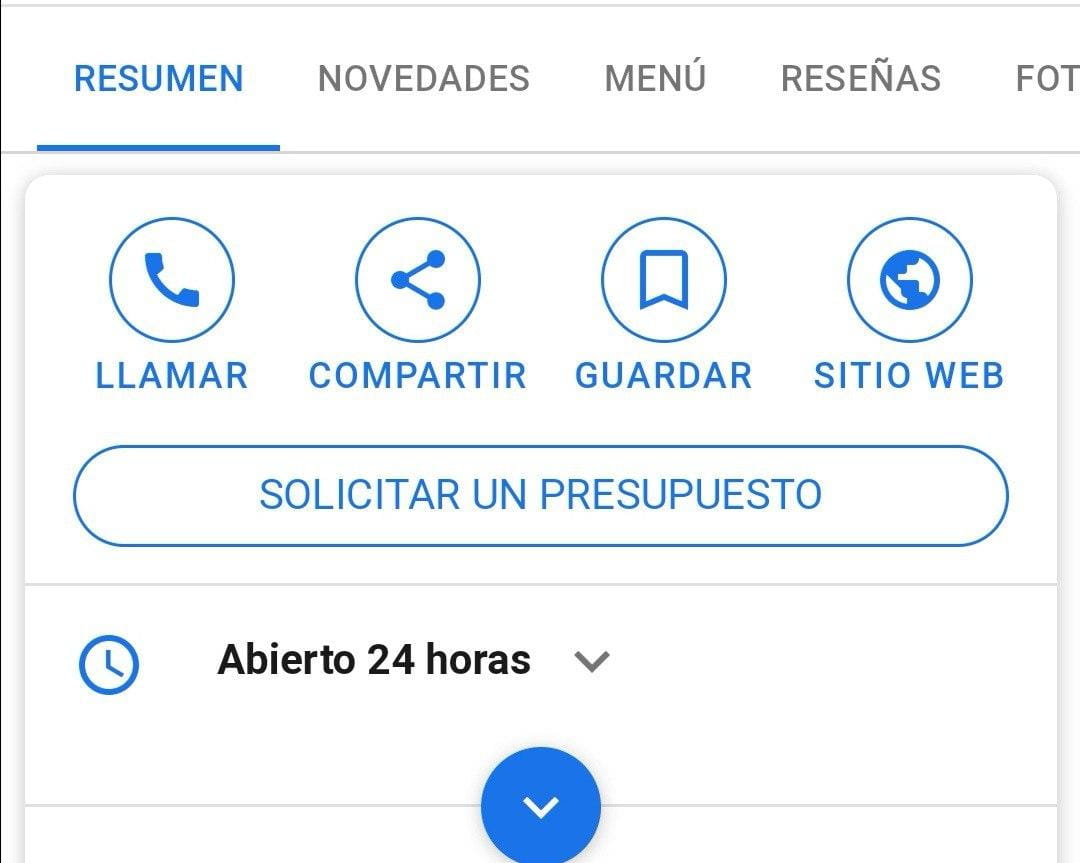 Solicitar un presupuesto en Google My Business