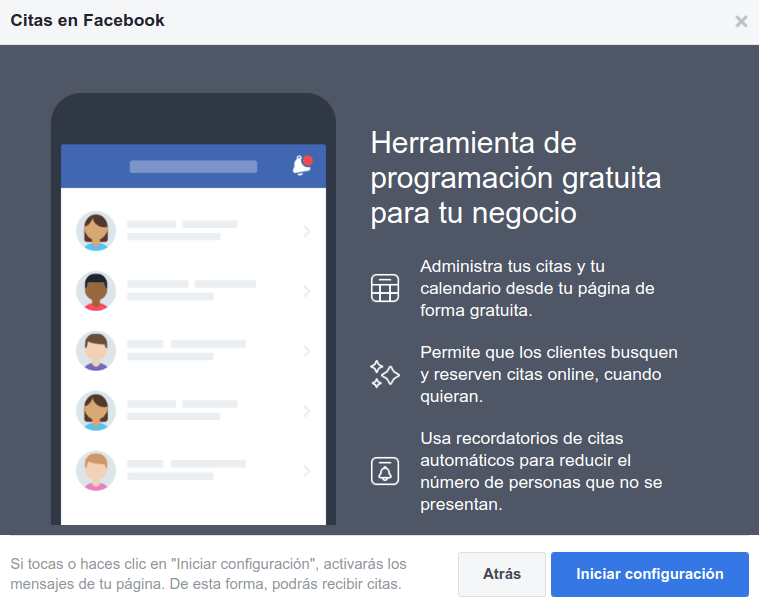 configurar las citas en una fanpage de Facebook 01