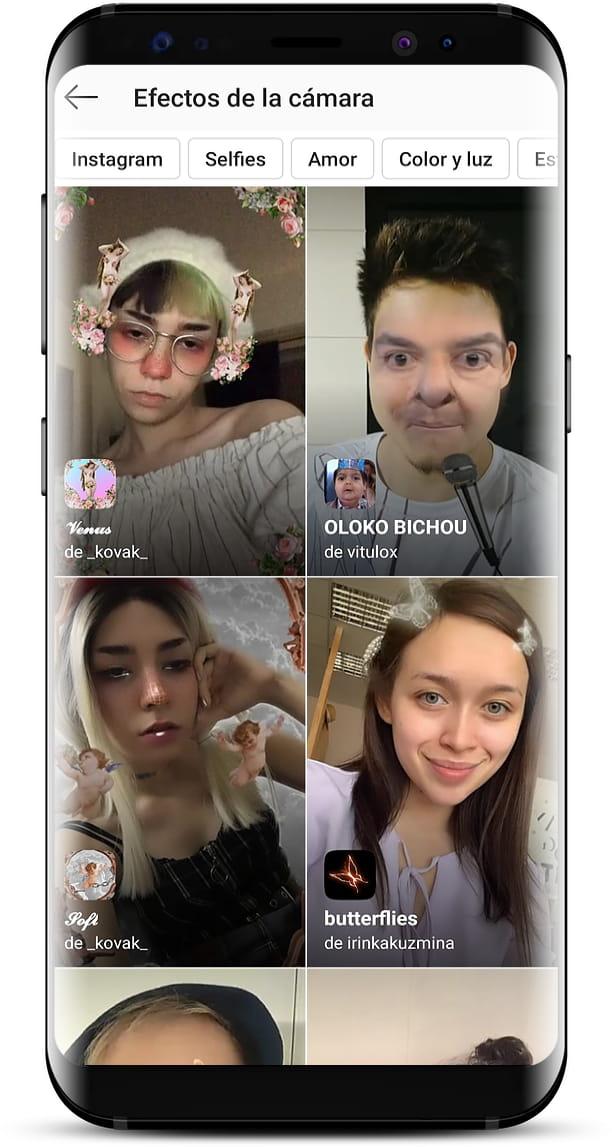 Efectos de la cámara de Instagram Stories
